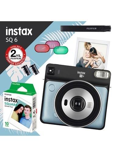 Fujifilm instax SQ 6 Aqua Blue Fotograf Makinesi ve 10'lu Kare Film Renkli